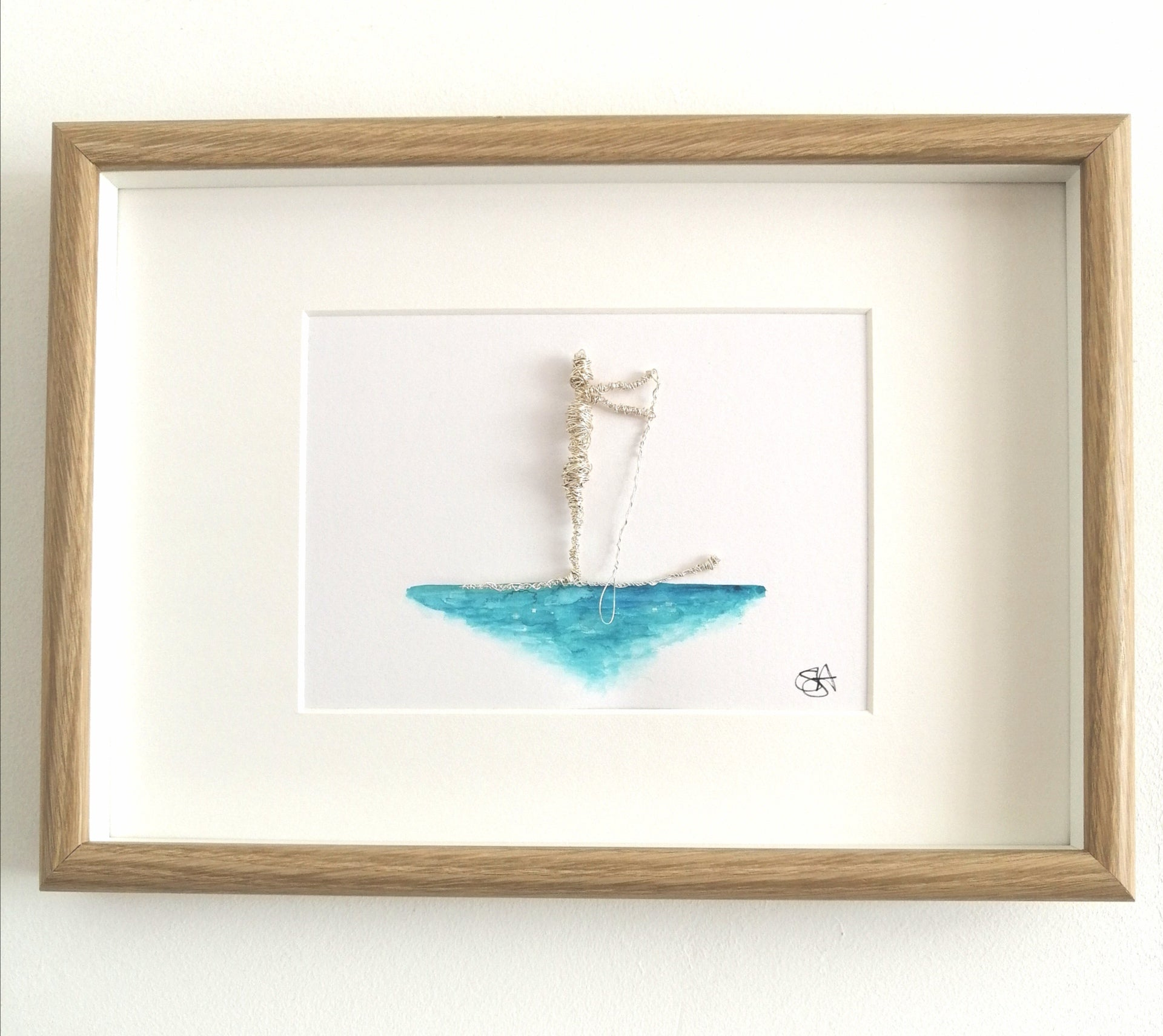 Paddle Boarder silver wire sculpture and original watercolour painting - Glitter and Gem Jewellery