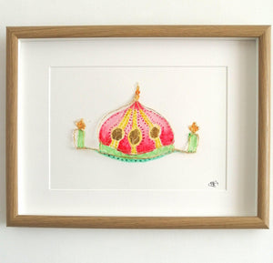 Brighton Pavilion original wire sculpture and watercolours framed art - Glitter and Gem Jewellery