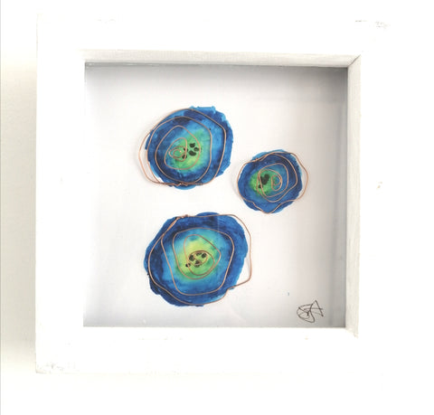 Wire Flower Sculpture with an original watercolour framed art - Glitter and Gem Jewellery