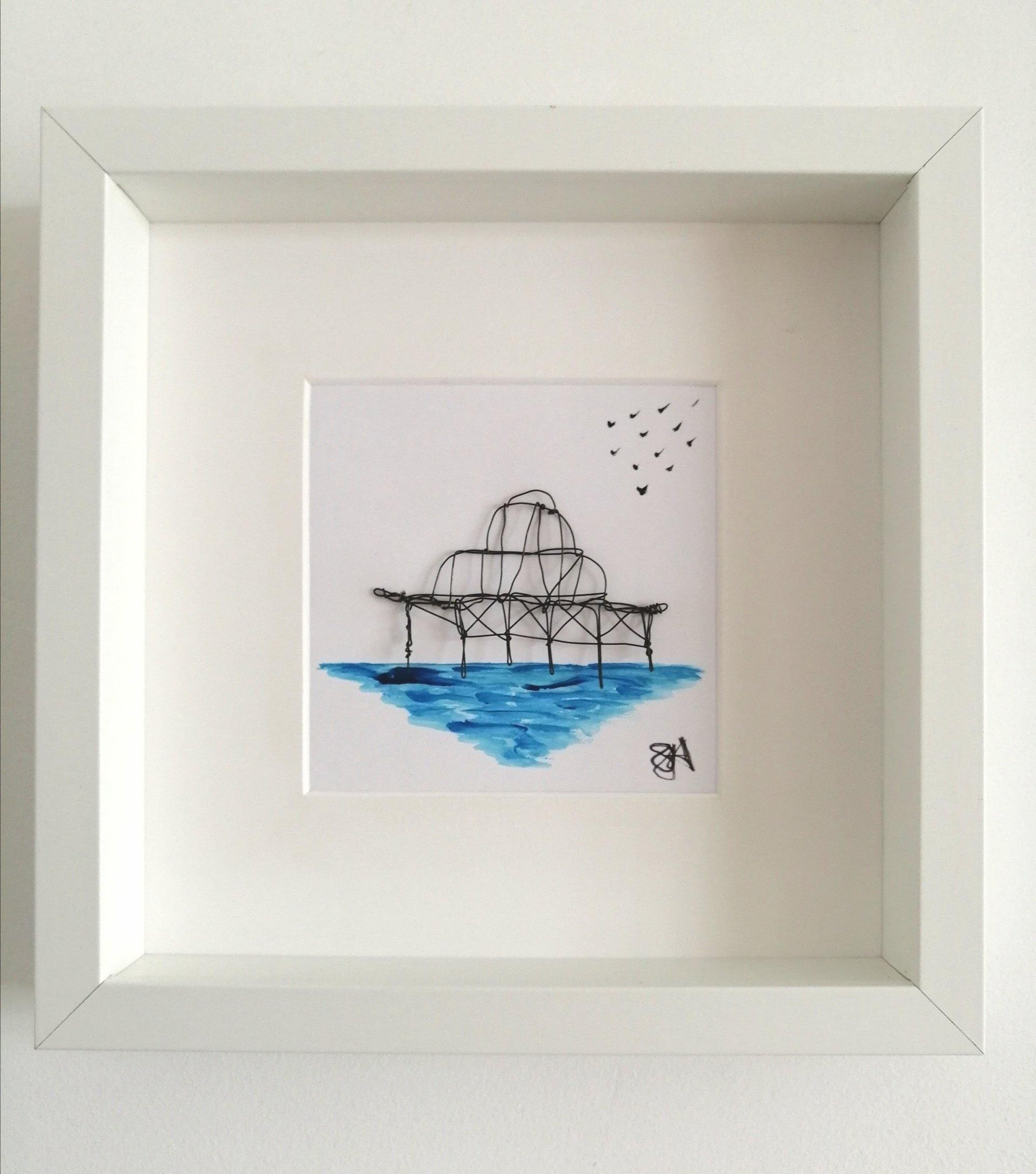Brighton West Pier sculpture and watercolour framed art - Glitter and Gem Jewellery