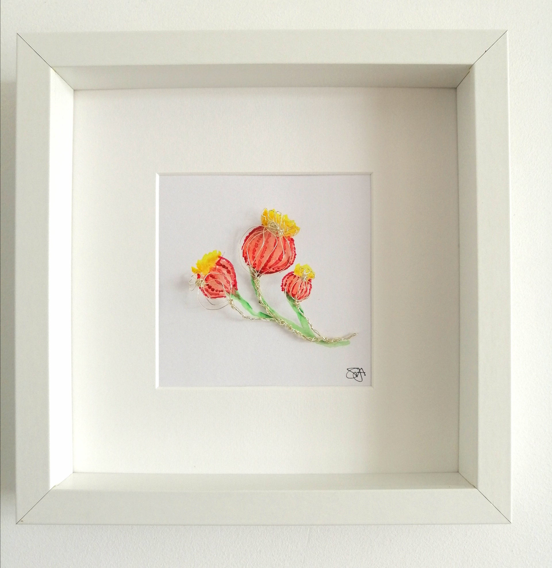 Poppy Seeds original Painting and wire sculpture framed art - Glitter and Gem Jewellery