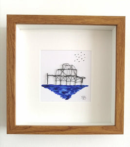 Brighton West Pier Sculpture & watercolour original framed art - Glitter and Gem Jewellery