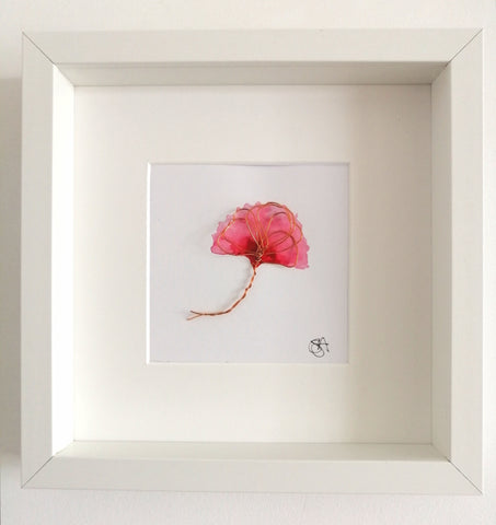 Copper Wire Poppy Sculpture & original watercolour framed art - Glitter and Gem Jewellery