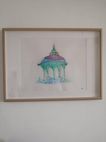 Brighton Band Stand Original Watercolour & Wire Framed Art - Glitter and Gem Jewellery