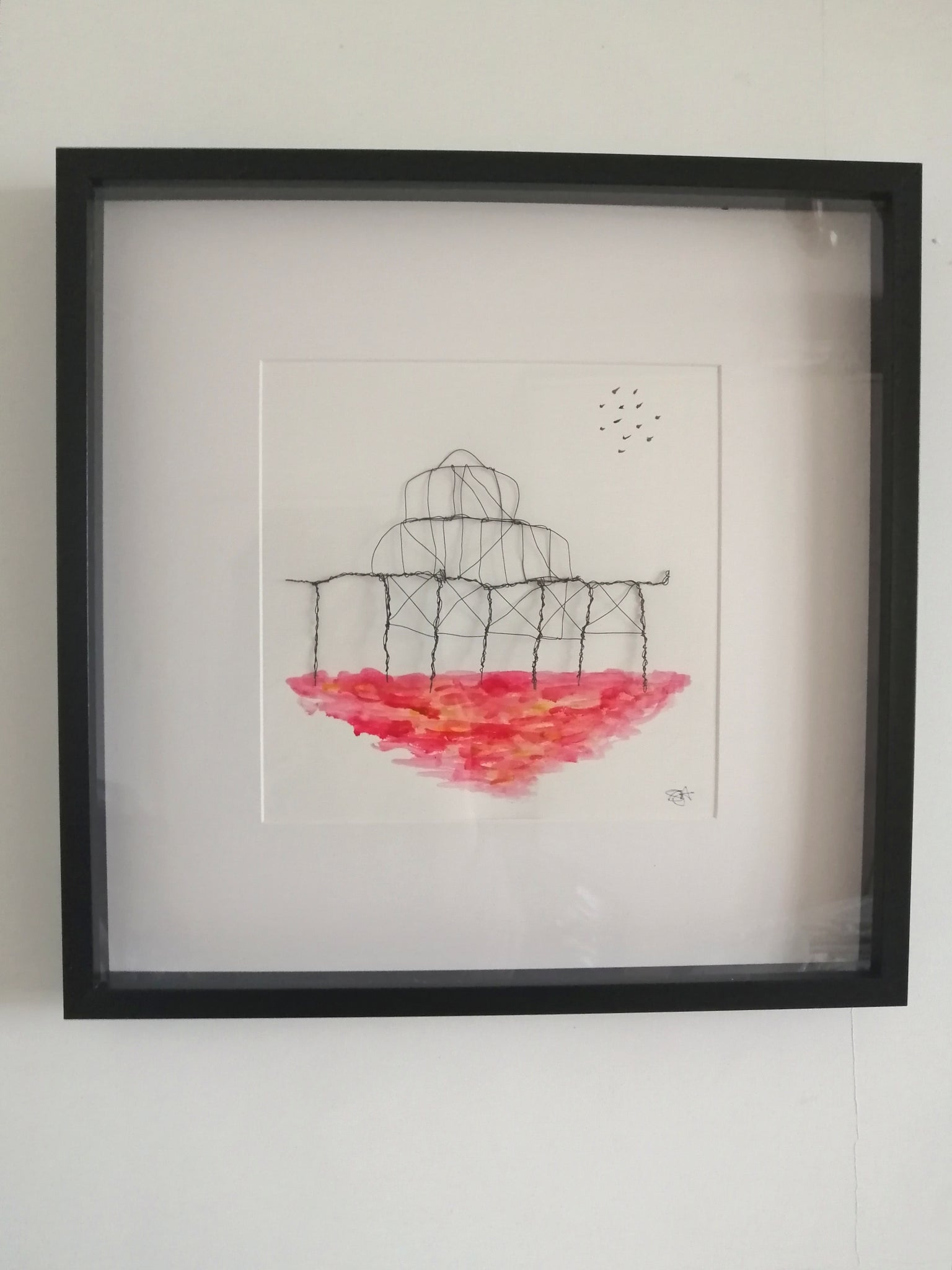 Sunset Brightons West Pier watercolour & wire sculpture framed art - Glitter and Gem Jewellery