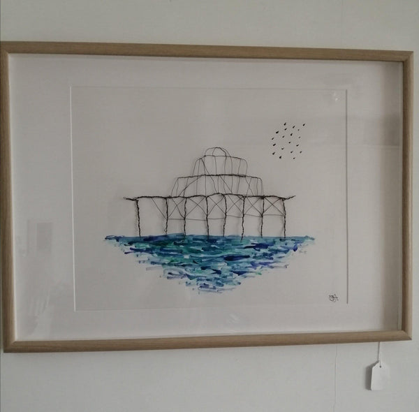 Brightons West Pier Watercolour & Wire Sculpture Framed Art - Glitter and Gem Jewellery