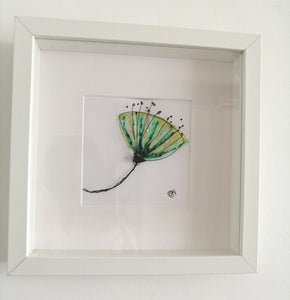 Poppy Seed original watercolour & wire sculpture framed art - Glitter and Gem Jewellery