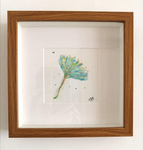 Flower Seed original watercolour & wire sculpture framed art - Glitter and Gem Jewellery