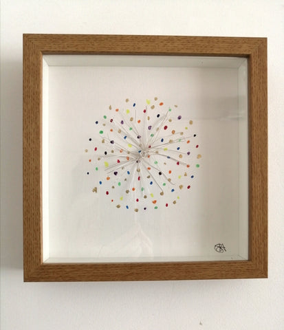 Starburst original watercolour, gold leaf and wore sculpture framed art - Glitter and Gem Jewellery