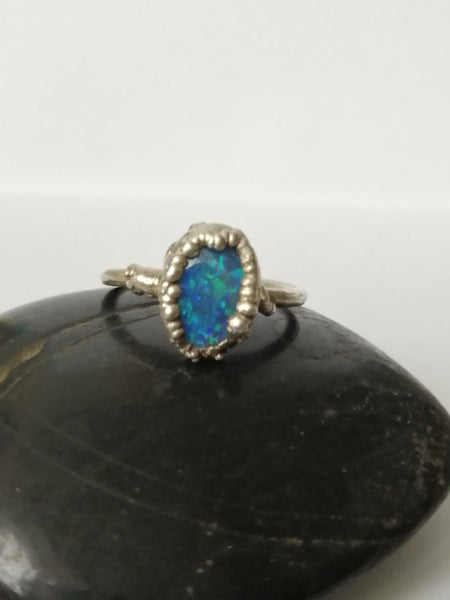 Lightning Ridge Opal Silver Electroformed Silver Ring - Glitter and Gem Jewellery