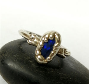 Solid Black Opal Silver Electroformed Ring - Glitter and Gem Jewellery