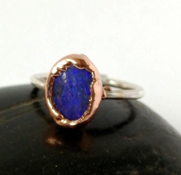 Boulder Opal Copper & Silver Ring - Glitter and Gem Jewellery