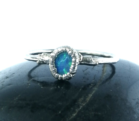 Opal Silver Formed Ring - Glitter and Gem Jewellery