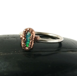 Lightning Ridge Opal Silver & Copper Ring - Glitter and Gem Jewellery