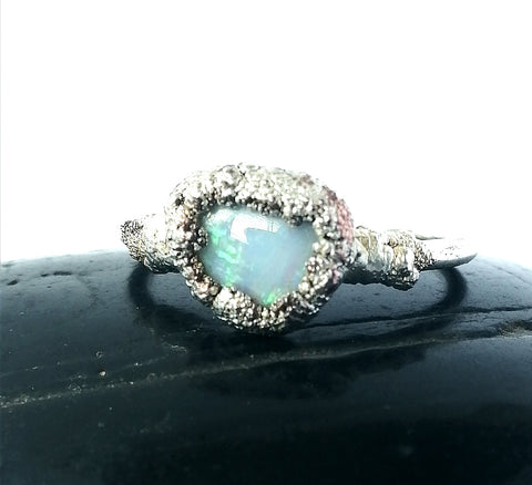 Textured Silver Formed Opal Ring - Glitter and Gem Jewellery