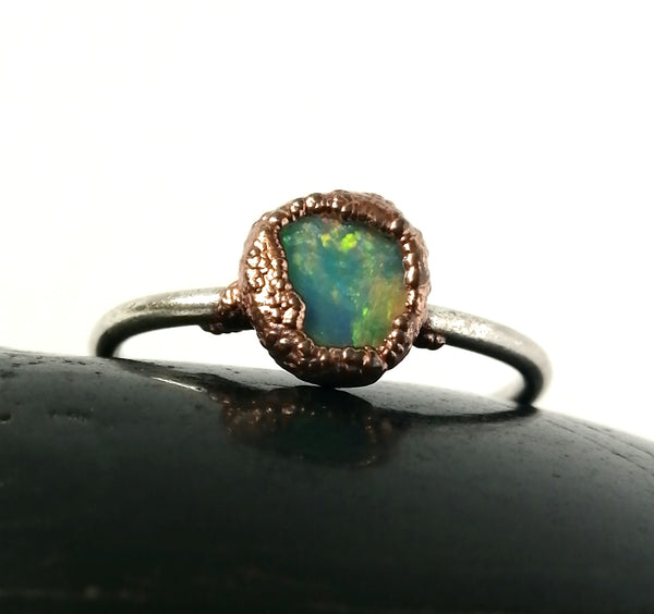 Opal Copper & Silver Ring - Glitter and Gem Jewellery