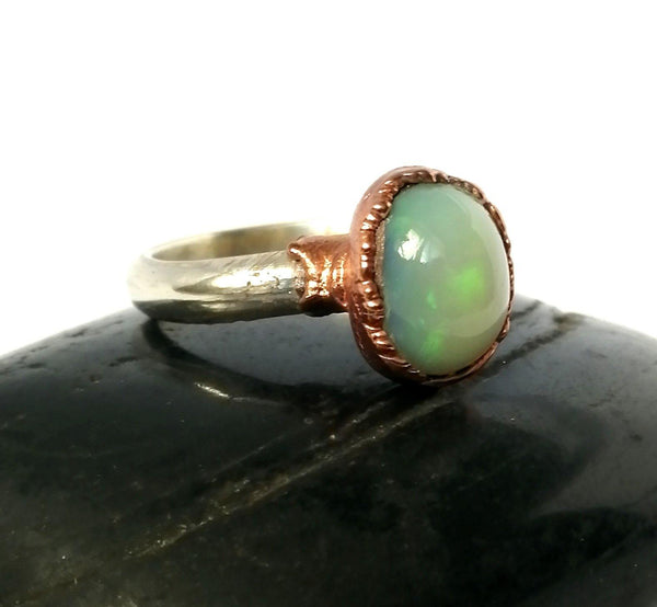 Welo Opal Copper & Silver Ring - Glitter and Gem Jewellery
