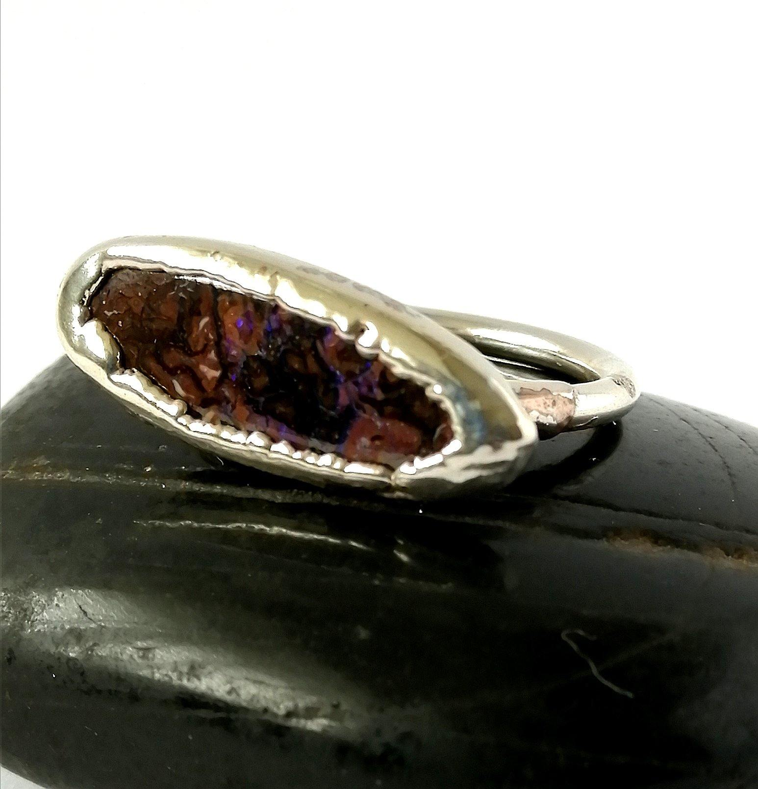 Boulder Opal Silver Formed Ring - Glitter and Gem Jewellery