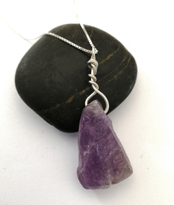 Raw Amethyst Sterling Silver Pendant Necklace. - Glitter and Gem Jewellery
