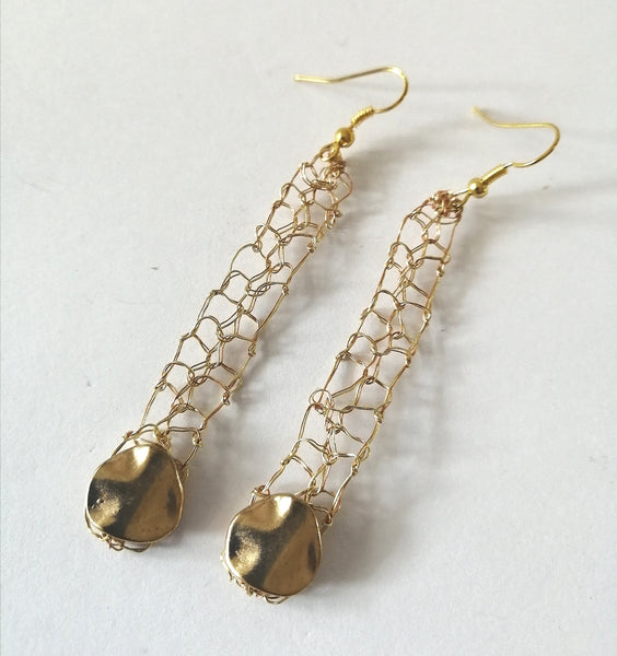 Hand Woven Gold Wire  Disc Earrings - Glitter and Gem Jewellery