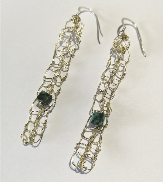 Turquoise Hand Woven Champagne Gold Earrings - Glitter and Gem Jewellery