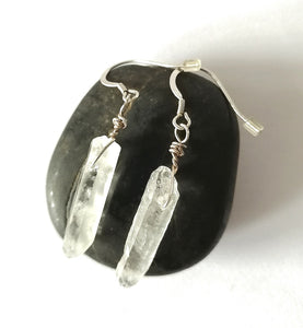 Quartz Dangle Silver Earrings - Glitter and Gem Jewellery