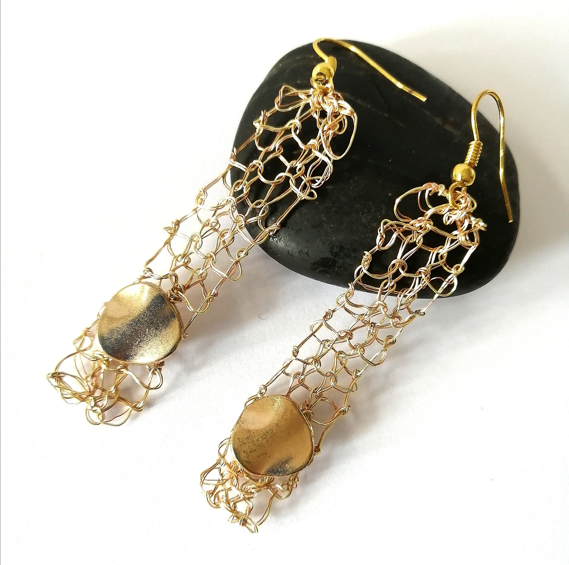 Golden Hand Woven Dangle Earrings - Glitter and Gem Jewellery