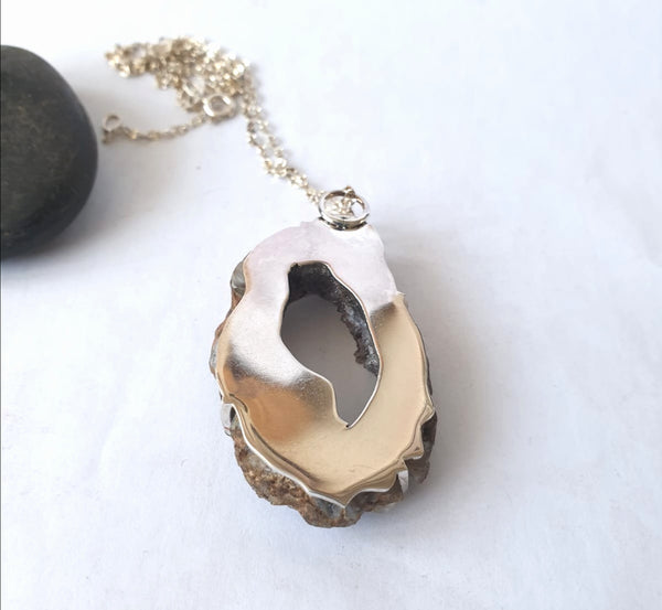 Polished Agate Slice Sterling Silver Pendant Necklace - Glitter and Gem Jewellery