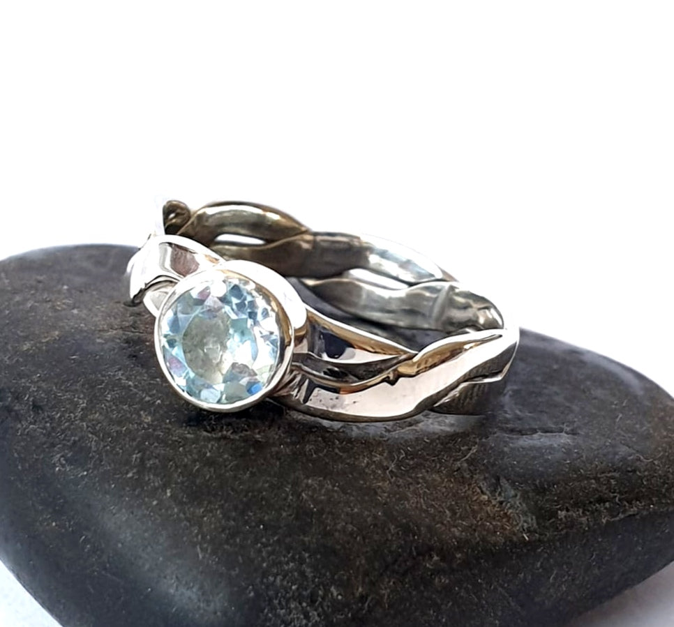 Topaz Silver Twisted Silver Ring - Glitter and Gem Jewellery