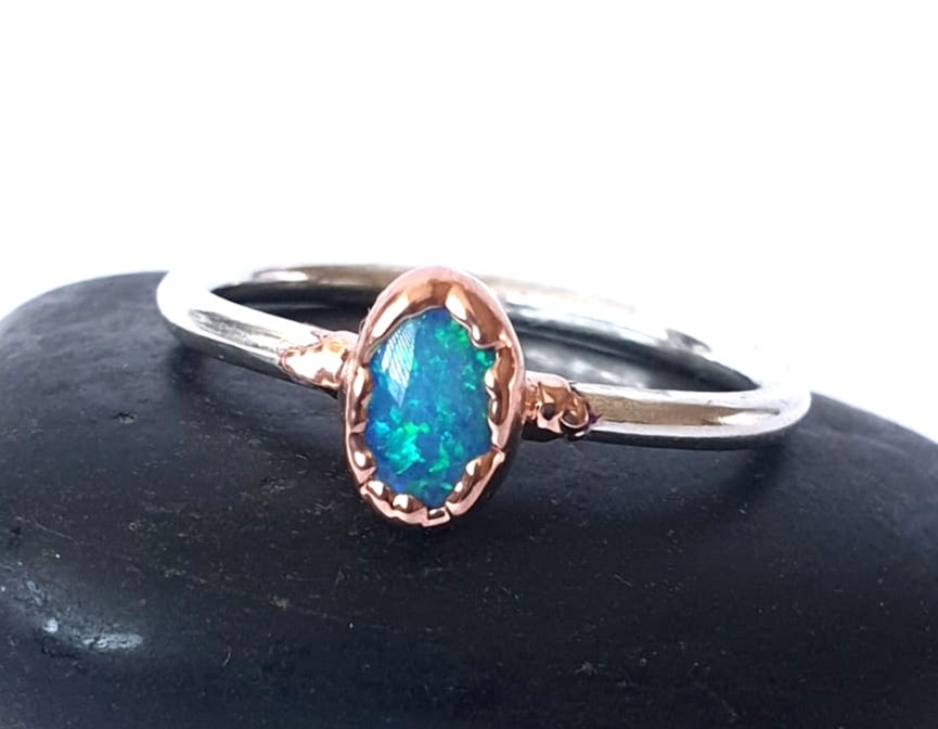 Lightning Ridge Opal Copper and Silver Ring - Glitter and Gem Jewellery