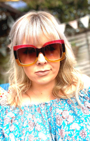 Oversized Retro 70s Style Sunglasses - Glitter and Gem Jewellery