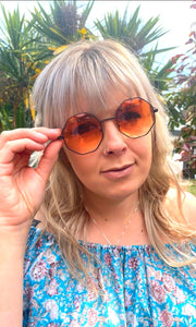 Hexanganol Black Rimmed Orange Sunglasses - Glitter and Gem Jewellery