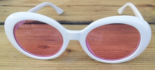 Retro 60s White & Pink Sunglasses - Glitter and Gem Jewellery