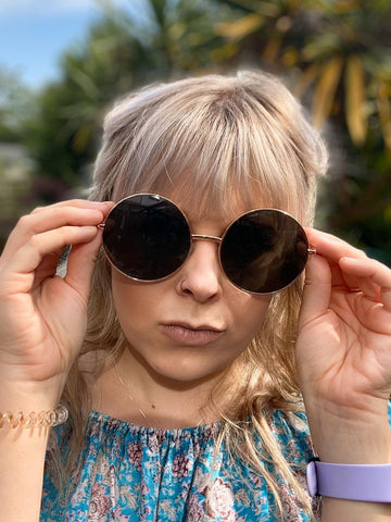 Oversized Round metal framed Sunglasses - Glitter and Gem Jewellery