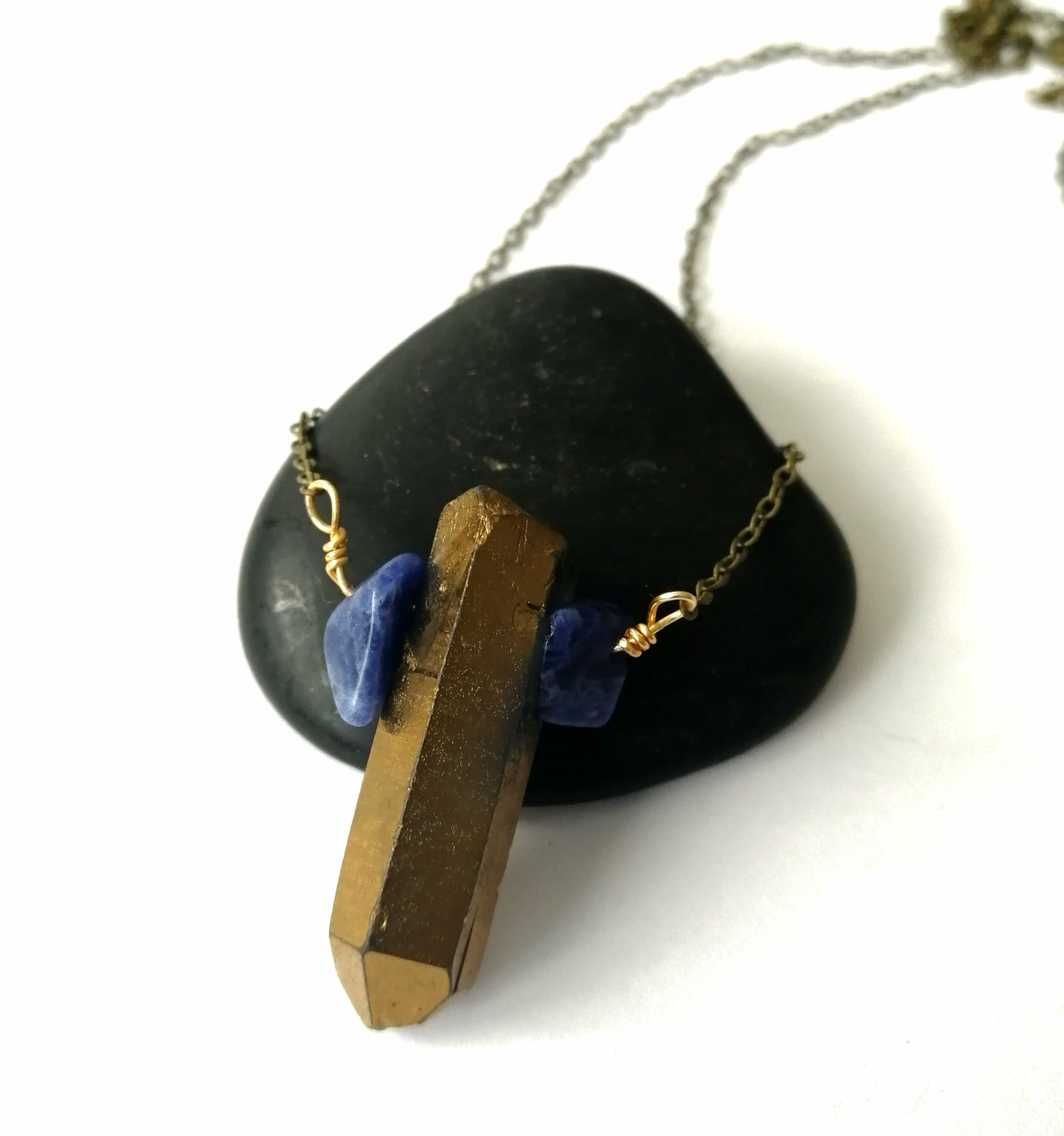 Gold Quartz and Sodalite Long Antique Brass Necklace - Glitter and Gem Jewellery