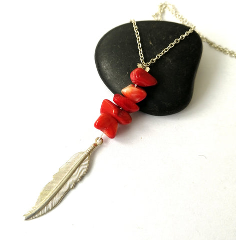 Red Coral Feather Long Silver Plated Necklace - Glitter and Gem Jewellery