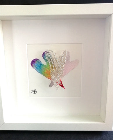 Rainbow Heart & Silver Wirework Sculpture Art - Glitter and Gem Jewellery