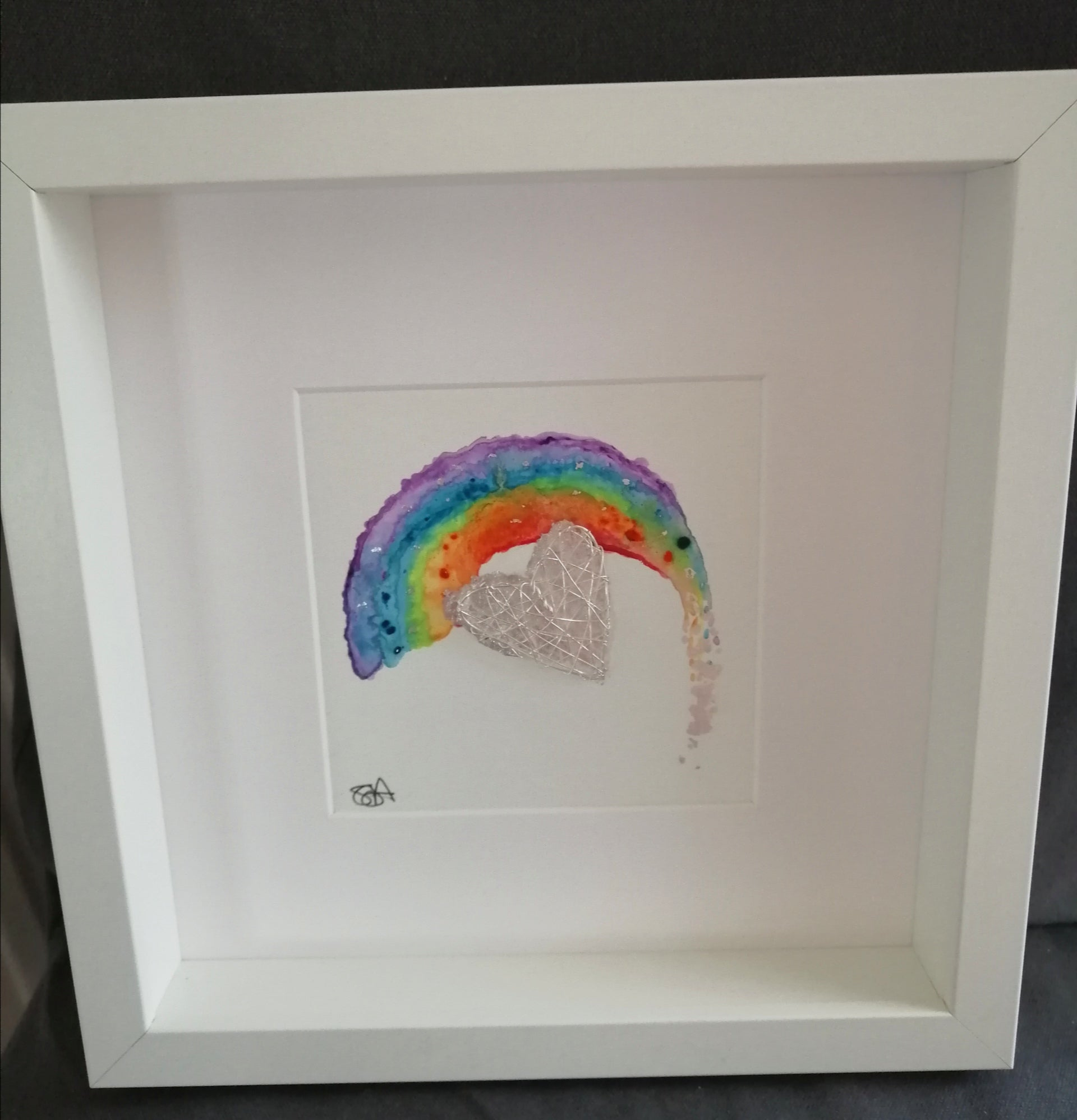 Rainbow Heart Watercolour & Wire Sculpture Art - Glitter and Gem Jewellery