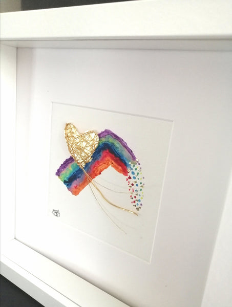 Rainbow Golden Heart Wire Scupture Art - Glitter and Gem Jewellery