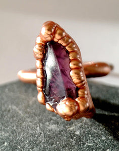 Statement Amethyst Copper Ring. Ring size P, US 7 1/2 - Glitter and Gem Jewellery