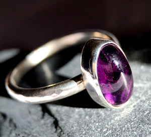 Deep Purple Amethyst Sterling Silver Textured Ring. UK ring size P. US ring size 7 1/4