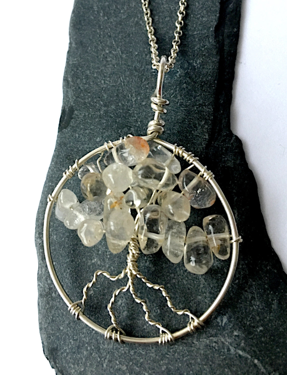 Quartz Tree of Life Sterling Silver Pendant Necklace - Glitter and Gem Jewellery