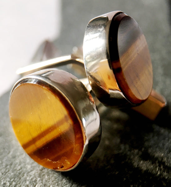 Individually Hand Cut Quality Tigers Eye Handmade Sterling Silver Cuff Links - Glitter and Gem Jewellery