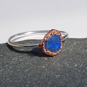 Lightning Ridge Hand Cut Natural Opal, Sterling Silver & Copper, Ring size P, US Ring size 7 1/2.