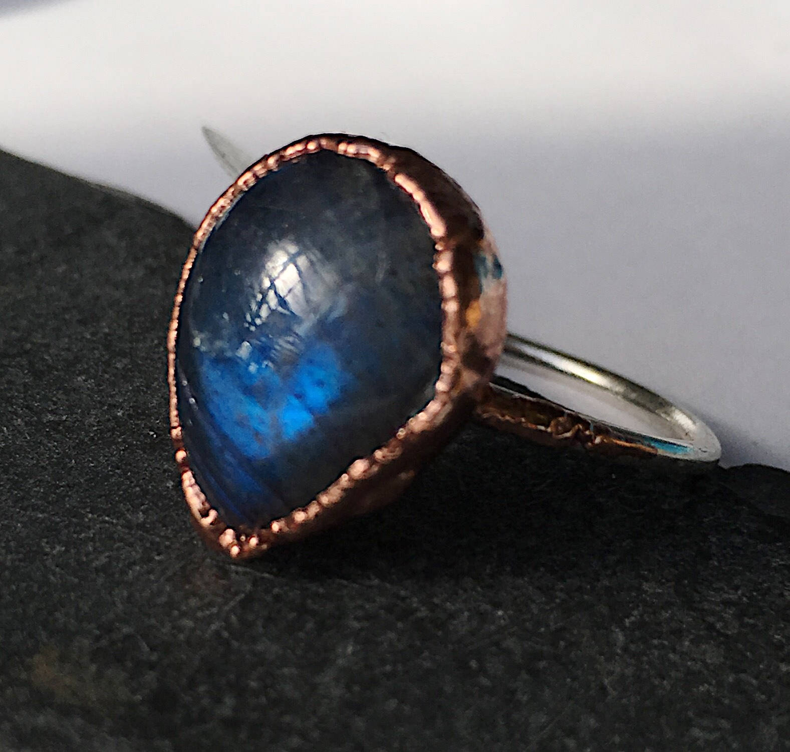 Teardrop Labradorite Sterling Silver & Copper Ring, size R, US ring size 8 5/8 - Glitter and Gem Jewellery