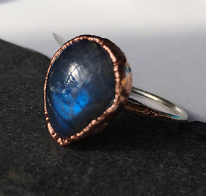 Teardrop Labradorite Sterling Silver & Copper Ring, size R, US ring size 8 5/8