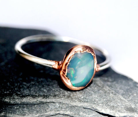 Solid Crystal Opal Silver & Copper Ring - Glitter and Gem Jewellery