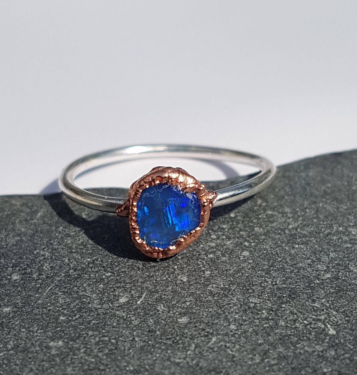 Lightning Ridge Hand Cut Natural Opal, Sterling Silver & Copper, Ring size P, US Ring size 7 1/2. - Glitter and Gem Jewellery