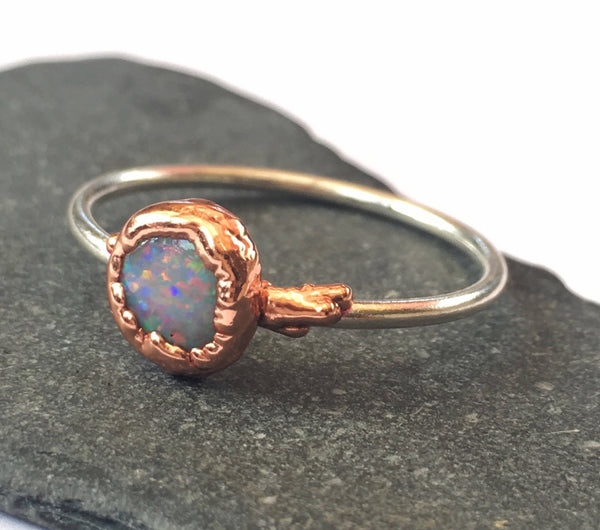 Solid Lightning Ridge Opal Silver & Copper Ring - Glitter and Gem Jewellery