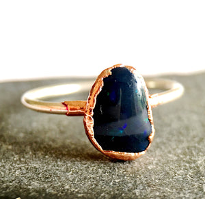 Solid Black Lightning Ridge Opal Silver & Copper Ring